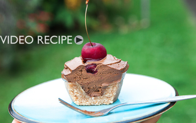 Raw Vegan Chocolate Avocado Cherry Cupcakes. Recipe and Video.