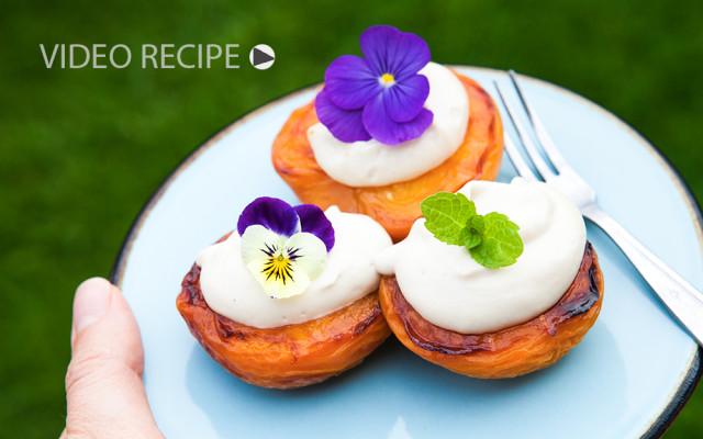 Peach Melba with cashew cream. Recipe and Video.