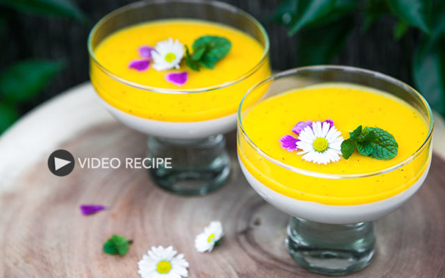 Coconut Panna Cotta with Mango and Passion fruit Sauce. Recipe and Video.