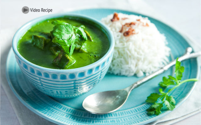 Spinach and Tofu Green Curry. Recipe and Video.