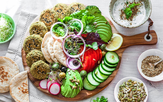 Baked Falafel Board with Coconut Yoghurt Sauce and Dukkah. Vegan Recipe.