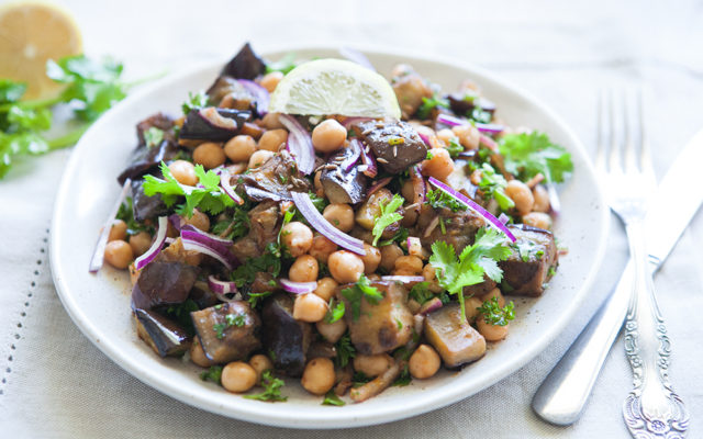 Moroccan Style Chickpea and Eggplant Salad. Vegan. Gluten Free Recipe.