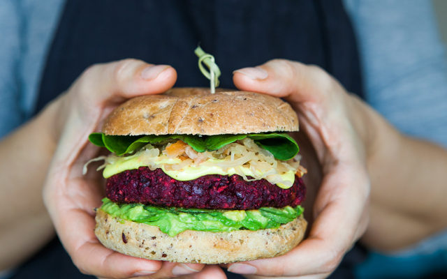 Beetroot Burger with Turmeric Mayo and Slaw. Vegan and Gluten Free Recipe.