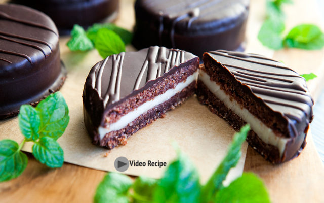 Chocolate Mint Cookie Sandwich Covered Dark Chocolate. Vegan, Gluten Free Recipe and Video