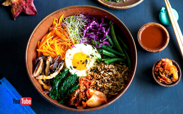 Tofu Bibimbap (Korean Mixed Rice). Recipe and Video.