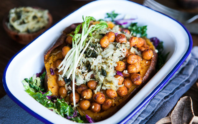 Baked Kumara with Smoked Chickpeas. Vegan and GF recipe.