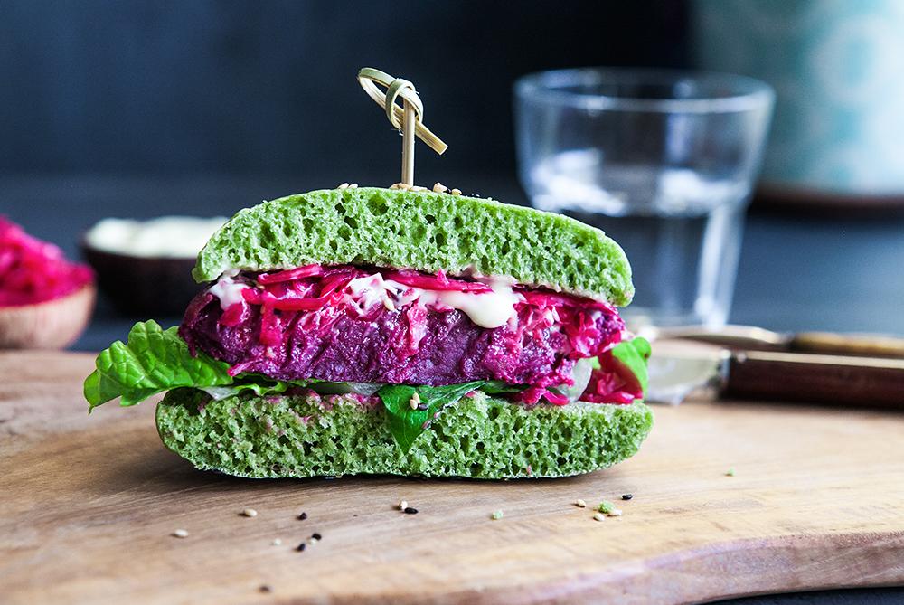 Rainbow Veggie Burger from Scratch. Vegan, GF Recipe.